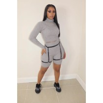 Solid Turtleneck Long Sleeve 2 Piece Shorts Set WUM-930