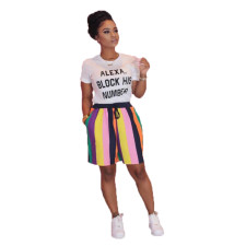 Casual Print T-shirt Striped Shorts Two Piece Set OMY-8022