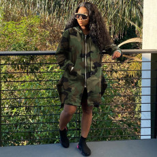 Camouflage Leopard Print Hooded Drawstring Long Trench Coat CQF-921