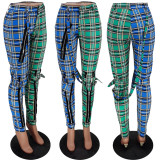 Casual Plaid Zipper Long Pants YH-5201
