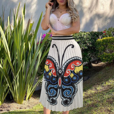 Butterfly Print Pleated Skirt OMY-8028