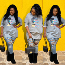 Casual Printed O Neck Long Sleeve T Shirt Dress SFY-207