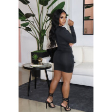 Plus Size Sexy Black Long Sleeve Mini Bodycon Dress YIY-5248