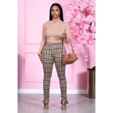 Plaid Split Skinny Stacked Pants CHY-1302