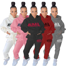 Letter Embroidery Hoodies Two Piece Pants Set OJS-9265