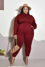 Plus Size 5XL Casual Solid Color Long Sleeve Pants Two Piece Set BMF-055