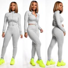 Casual Zipper Slim Coat And Pants Sportswear Suit MEI-9132