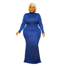 Plus Size 5XL Solid Color Long Sleeve Round Neck Maxi Dress BMF-056