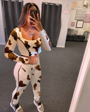 Casual Printed Long Sleeve Two Piece Pants Set LQ-614