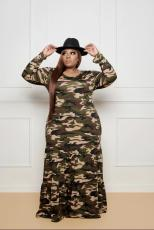 Plus Size 5XL Camouflage Print Long Sleeve Maxi Dress BMF-053