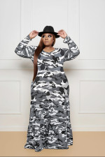 Plus Size 5XL Camouflage Print Long Sleeve Maxi Dress BMF-053