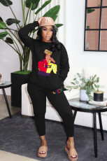 Plus Size Casual Printed Solid Color Sweatshirts And Pants Two Piece Set YN-1066