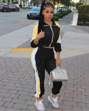 Fashion Casual Splice Coat And Pants Sports Two Piece Sets RM-6314
