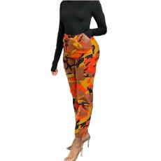 Camouflage Print Casual High Waist Pants AWF-5829