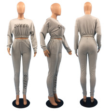 Casual Solid Color Letter Print Long Sleeve Pants Two Piece Set DSF-8003