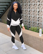 Casual Sports Patchwork Hooded Two Piece Sets MOY-5280