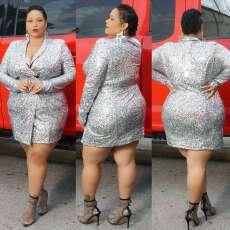 Plus Size 5XL Sexy Long Sleeve Blazer Dress NY-8945