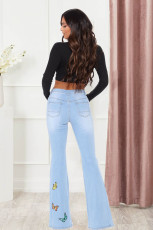 Plus Size Denim Butterfly Hole Flared Jeans LX-5519