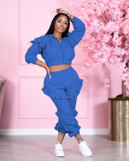 Casual Solid Ruffled Hooded Two Piece Sets NM-8333