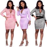 Plaid Print Zipper Top Mini Skirt Two Piece Sets XMY-9283
