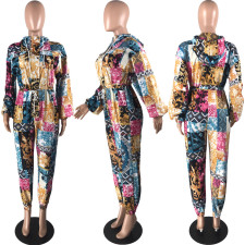 Fashion Casual Hooded Printed Jumpsuit YSYF-7274