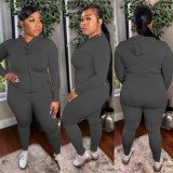 Plus Size 5XL Solid Hooded Zipper 2 Piece Sets OSIF-20955
