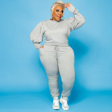 Plus Size 5XL Solid Long Sleeve Two Piece Pants Set OSIF-21022