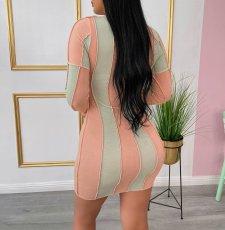 Contrast Color Patchwork Long Sleeve Mini Dress ML-7407