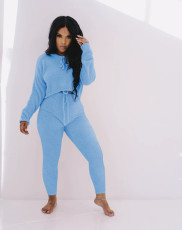 Solid Hooded Long Sleeve Two Piece Pants Set MYF-183
