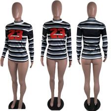 Casual Striped Turtleneck Long Sleeve Tops BLI-2221