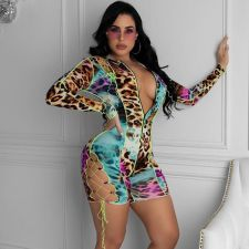Sexy Leopard Lace Up Hollow Out Rompers ML-7409