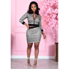 Plaid Print Zipper Top Mini Skirt Two Piece Sets XMY-9283
