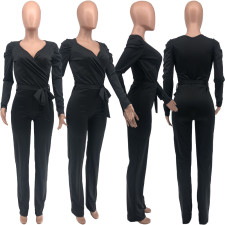 Sexy V-neck Black Tie Up Long Sleeve Jumpsuit KYF-3038