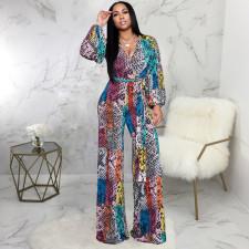 Multicolor Printed V Neck Long Sleeve Jumpsuit SMR-9934