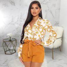 Plus Size Chain Print Long Sleeve Shirt Tops SMR-9894