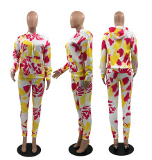 Printed Hooded Sweatshirts And Pants Two Piece Set OXF-8013