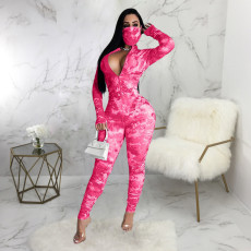 Sexy Tie Dye Zipper Long Sleeve Jumpsuit With Mask SMR-9870