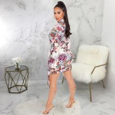 Sexy Floral Print V Neck Sashes Mini Dress SMR-9919