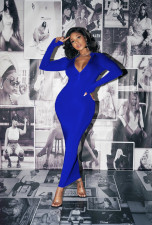 Solid Long Sleeve Bodycon Maxi Dress AIL-147