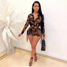 Sexy Printed Mesh Blouse Top Shorts 2 Piece Sets SMR-9879