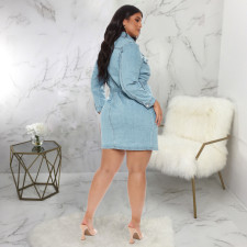 Casual Long Sleeve Buttons Sashes Denim Mini Dress SMR-9896