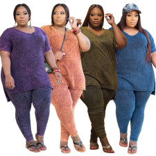 Plus Size 5XL Solid V Neck T Shirt Pants 2 Piece Sets CYA-1385