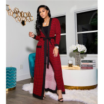 Plaid Print Tank Top+Long Cloak+Pants 3 Piece Sets CYA-8837