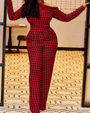 Houndstooth Print Long Sleeve One Piece Jumpsuit MEI-9133