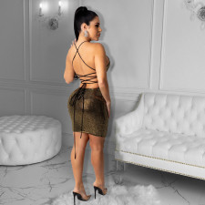 Sexy Shiny Strappy Backless Club Dress CYA-8826