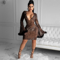 Sexy V Neck Leopard Print Feather Flare Sleeve Dress YSYF-7276