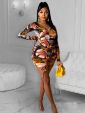 Plus Size Floral Print V Neck Drawstring Ruched Mini Dress OM-1195