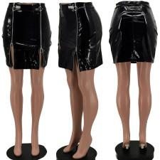 Sexy PU Leather Zipper Mini Skirt KSN-8048