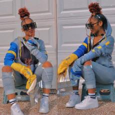 Trendy Fashion Print Hooded Top BDF-8049