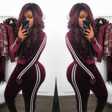 Casual Velvet Zipper Long Sleeve 2 Piece Pants Set LSL-6021
